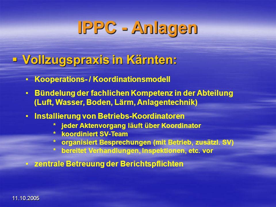 11.10.2005 IPPC - Anlagen Vollzugspraxis in Kärnten: Vollzugspraxis in Kärnten: Kooperations- / Koordinationsmodell Bündelung der fachlichen Kompetenz