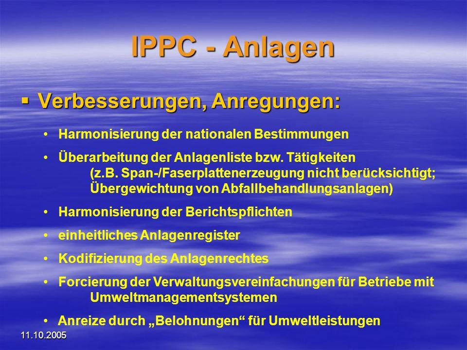 11.10.2005 IPPC - Anlagen Verbesserungen, Anregungen: Verbesserungen, Anregungen: Harmonisierung der nationalen Bestimmungen Überarbeitung der Anlagen