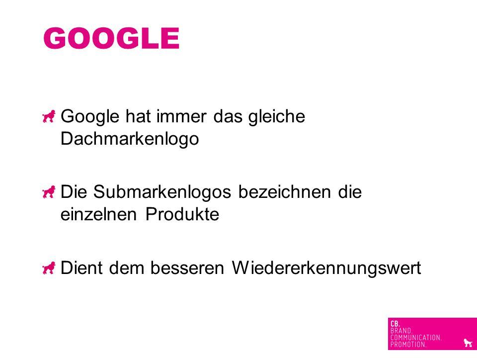 GOOGLE Google hat immer das gleiche Dachmarkenlogo Die Submarkenlogos bezeichnen die einzelnen Produkte Dient dem besseren Wiedererkennungswert
