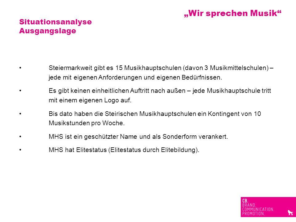 Situationsanalyse Ausgangslage Steiermarkweit gibt es 15 Musikhauptschulen (davon 3 Musikmittelschulen) – jede mit eigenen Anforderungen und eigenen B