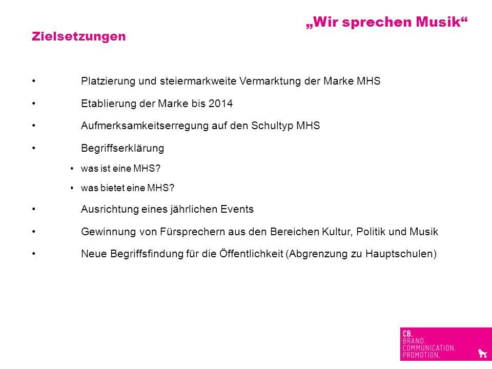 Zielsetzungen Platzierung und steiermarkweite Vermarktung der Marke MHS Etablierung der Marke bis 2014 Aufmerksamkeitserregung auf den Schultyp MHS Be