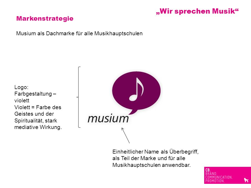 Markenstrategie Musium als Dachmarke für alle Musikhauptschulen Logo: Farbgestaltung – violett Violett = Farbe des Geistes und der Spiritualität, star