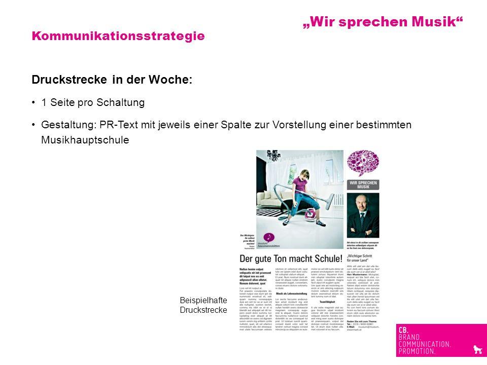 Kommunikationsstrategie Druckstrecke in der Woche: 1 Seite pro Schaltung Gestaltung: PR-Text mit jeweils einer Spalte zur Vorstellung einer bestimmten
