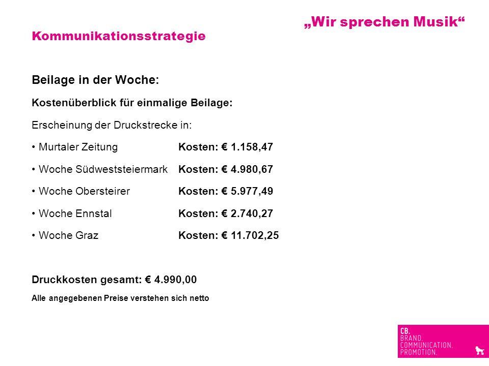 Kommunikationsstrategie Beilage in der Woche: Kostenüberblick für einmalige Beilage: Erscheinung der Druckstrecke in: Murtaler ZeitungKosten: 1.158,47