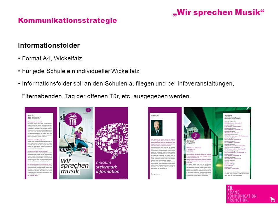 Kommunikationsstrategie Informationsfolder Format A4, Wickelfalz Für jede Schule ein individueller Wickelfalz Informationsfolder soll an den Schulen a