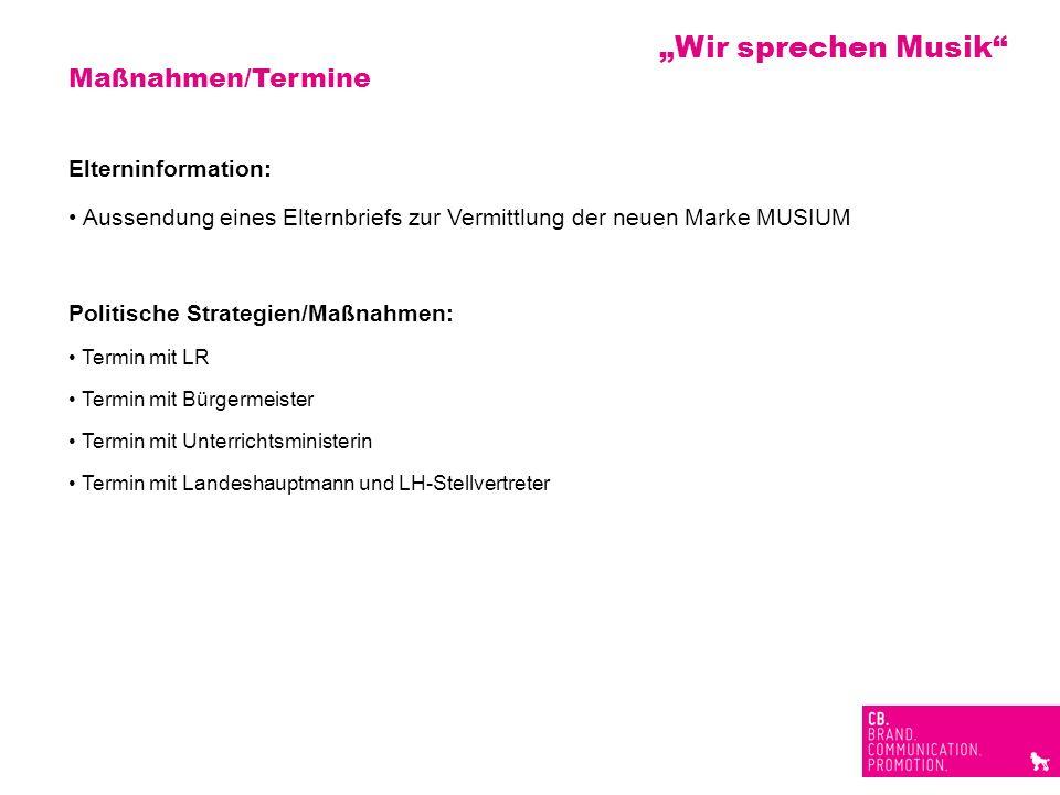 Maßnahmen/Termine Elterninformation: Aussendung eines Elternbriefs zur Vermittlung der neuen Marke MUSIUM Politische Strategien/Maßnahmen: Termin mit