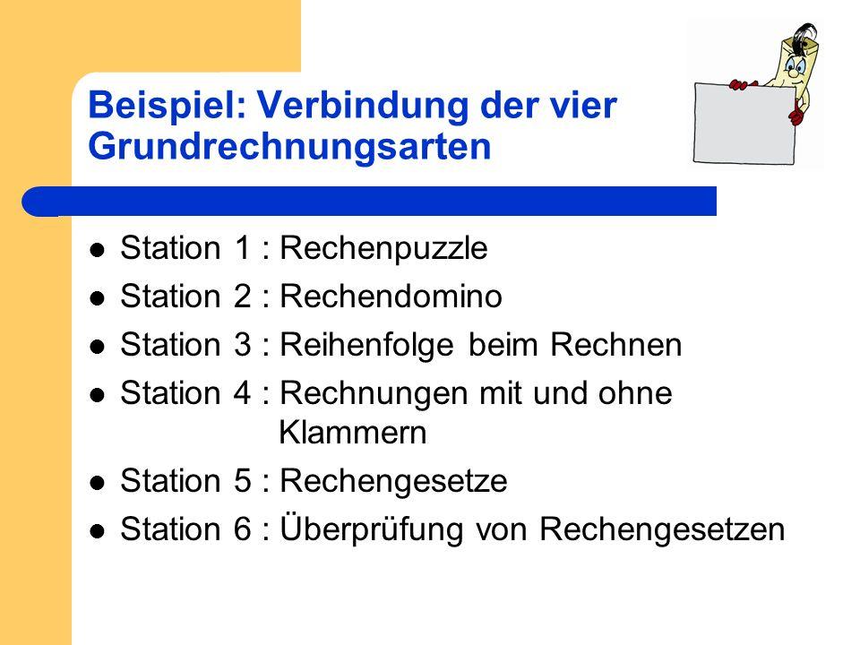 Beispiel: Verbindung der vier Grundrechnungsarten Station 1 : Rechenpuzzle Station 2 : Rechendomino Station 3 : Reihenfolge beim Rechnen Station 4 : R