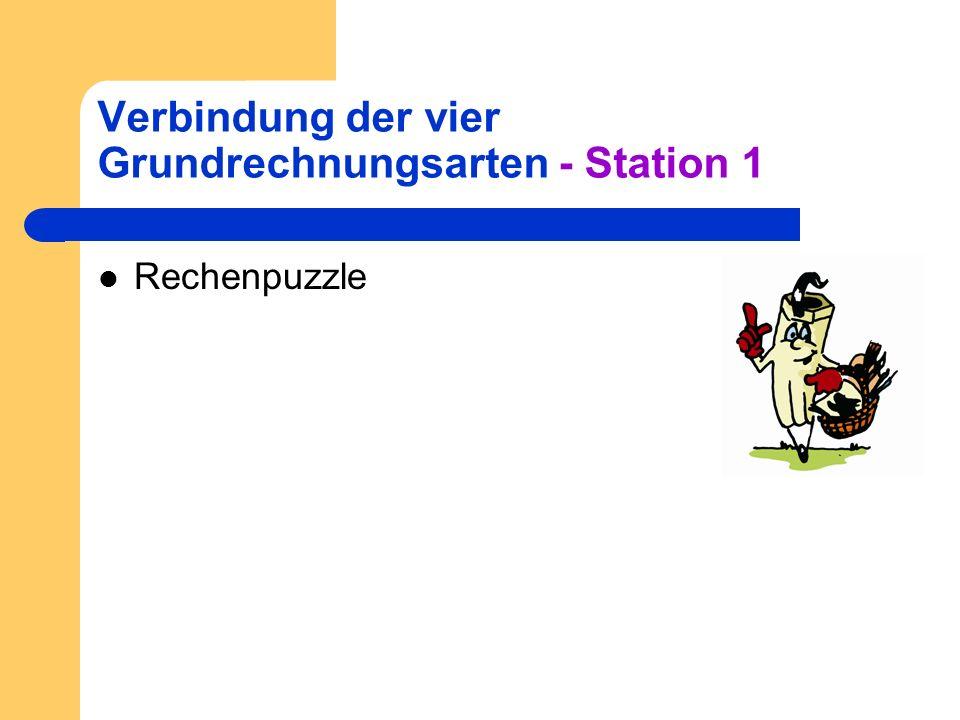 Verbindung der vier Grundrechnungsarten - Station 1 Rechenpuzzle