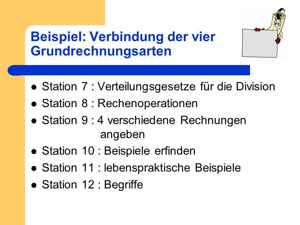 Beispiel: Verbindung der vier Grundrechnungsarten Station 7 : Verteilungsgesetze für die Division Station 8 : Rechenoperationen Station 9 : 4 verschie