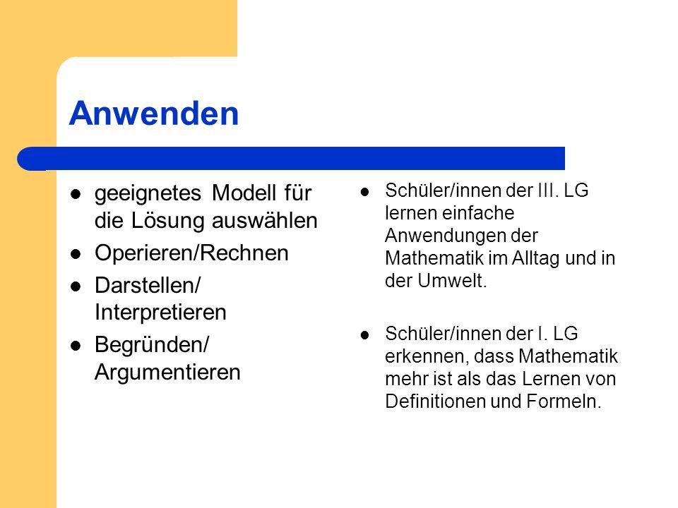 Anwenden geeignetes Modell für die Lösung auswählen Operieren/Rechnen Darstellen/ Interpretieren Begründen/ Argumentieren Schüler/innen der III. LG le