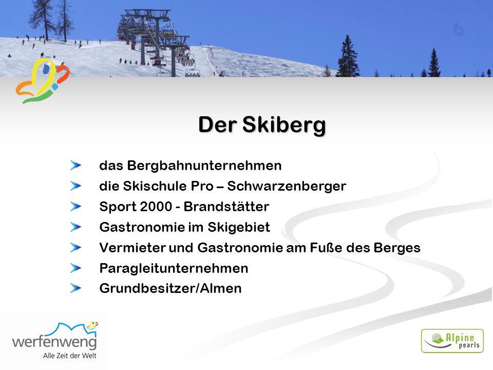 Der Skiberg das Bergbahnunternehmen die Skischule Pro – Schwarzenberger Sport 2000 - Brandstätter Gastronomie im Skigebiet Vermieter und Gastronomie am Fuße des Berges Paragleitunternehmen Grundbesitzer/Almen
