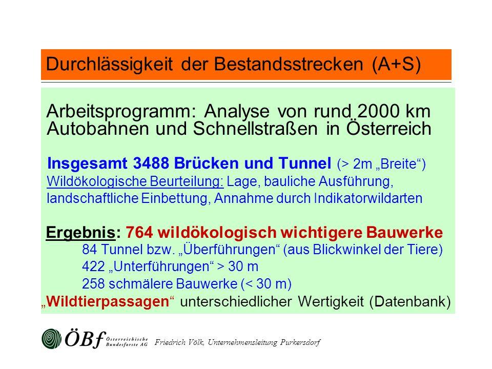 Friedrich Völk, Unternehmensleitung Purkersdorf Durchlässigkeit der Bestandsstrecken (A+S) Arbeitsprogramm: Analyse von rund 2000 km Autobahnen und Sc