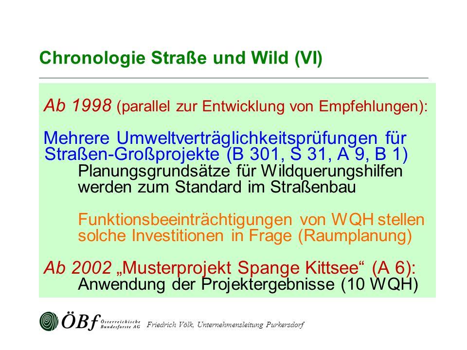 Friedrich Völk, Unternehmensleitung Purkersdorf Chronologie Straße und Wild (VI) Ab 1998 (parallel zur Entwicklung von Empfehlungen): Mehrere Umweltve