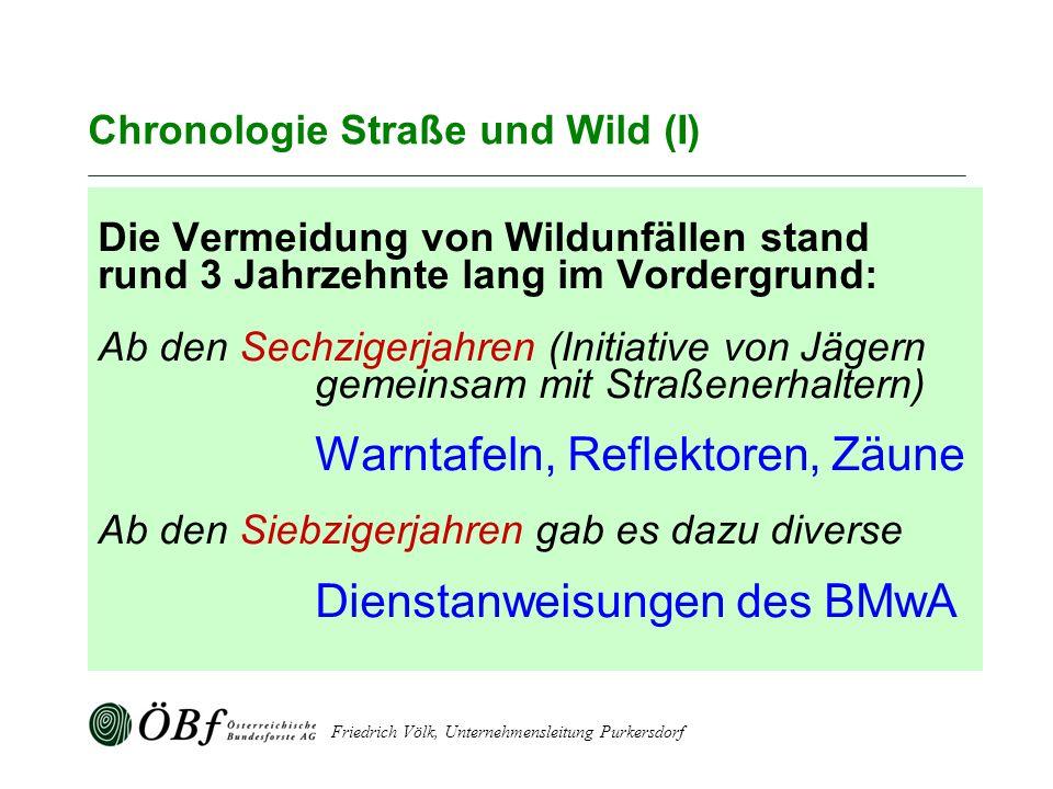 Friedrich Völk, Unternehmensleitung Purkersdorf Chronologie Straße und Wild (I) Die Vermeidung von Wildunfällen stand rund 3 Jahrzehnte lang im Vorder