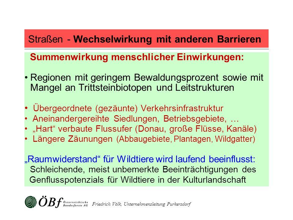 Friedrich Völk, Unternehmensleitung Purkersdorf Straßen - Wechselwirkung mit anderen Barrieren Summenwirkung menschlicher Einwirkungen: Regionen mit g