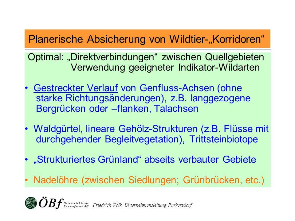 Friedrich Völk, Unternehmensleitung Purkersdorf Planerische Absicherung von Wildtier-Korridoren Optimal: Direktverbindungen zwischen Quellgebieten Ver