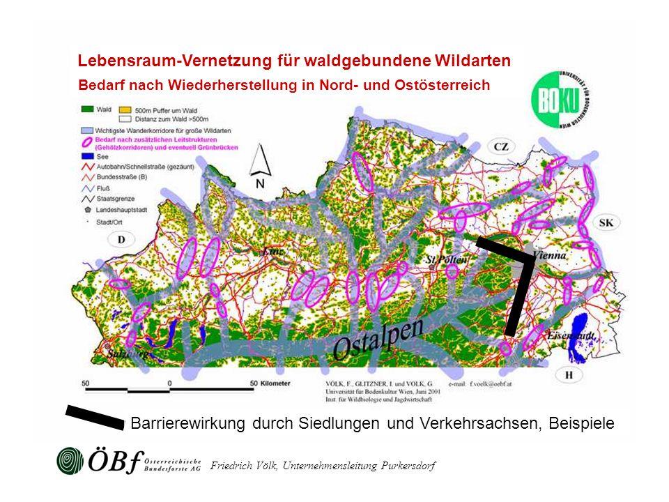 Friedrich Völk, Unternehmensleitung Purkersdorf Barrierewirkung durch Siedlungen und Verkehrsachsen, Beispiele Lebensraum-Vernetzung für waldgebundene