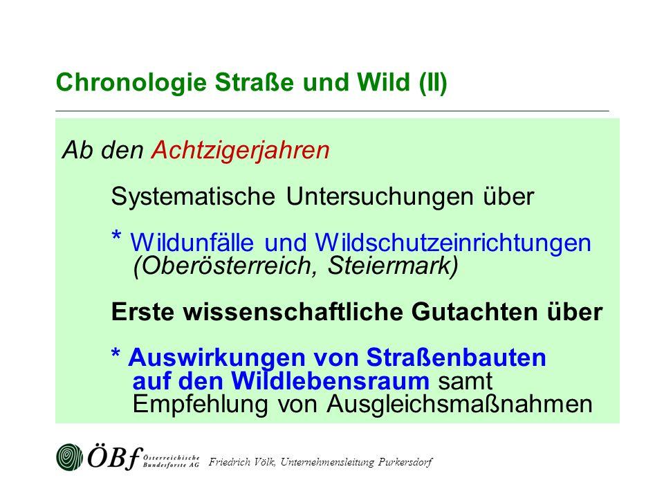 Friedrich Völk, Unternehmensleitung Purkersdorf Chronologie Straße und Wild (II) Ab den Achtzigerjahren Systematische Untersuchungen über * Wildunfäll