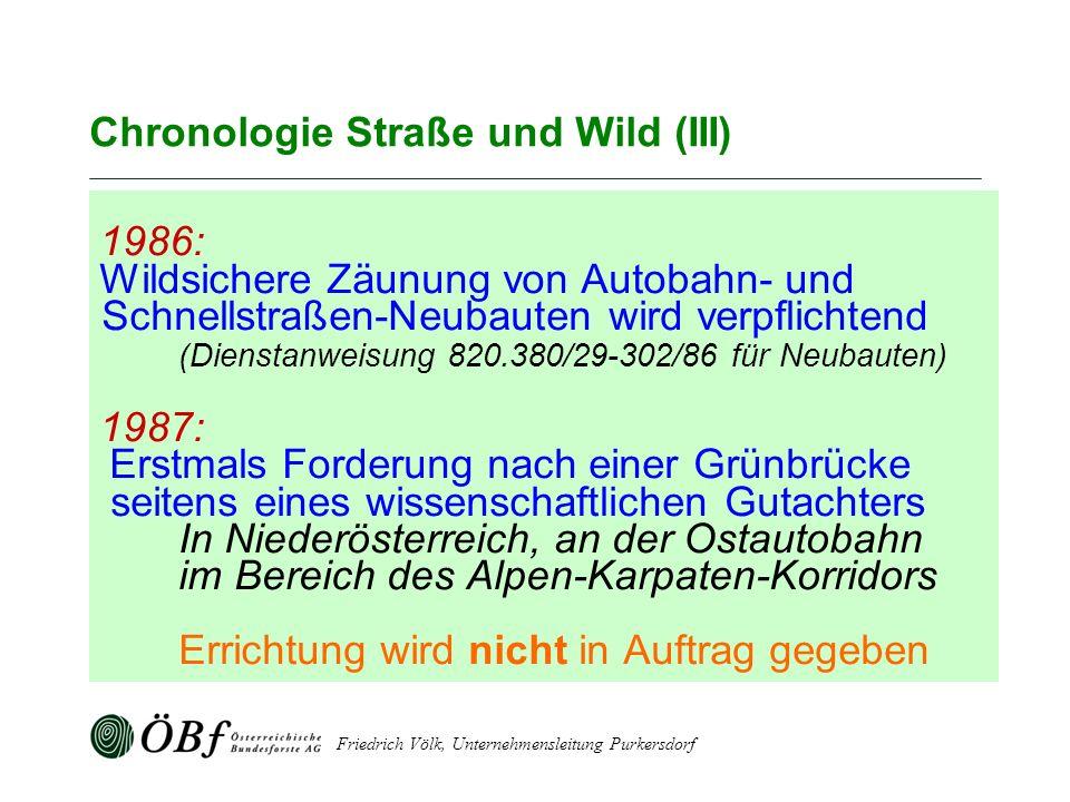 Friedrich Völk, Unternehmensleitung Purkersdorf Chronologie Straße und Wild (III) 1986: Wildsichere Zäunung von Autobahn- und Schnellstraßen-Neubauten