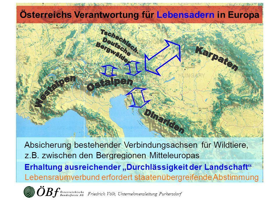 Friedrich Völk, Unternehmensleitung Purkersdorf Absicherung bestehender Verbindungsachsen für Wildtiere, z.B. zwischen den Bergregionen Mitteleuropas