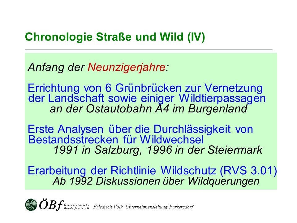 Friedrich Völk, Unternehmensleitung Purkersdorf Chronologie Straße und Wild (IV) Anfang der Neunzigerjahre: Errichtung von 6 Grünbrücken zur Vernetzun