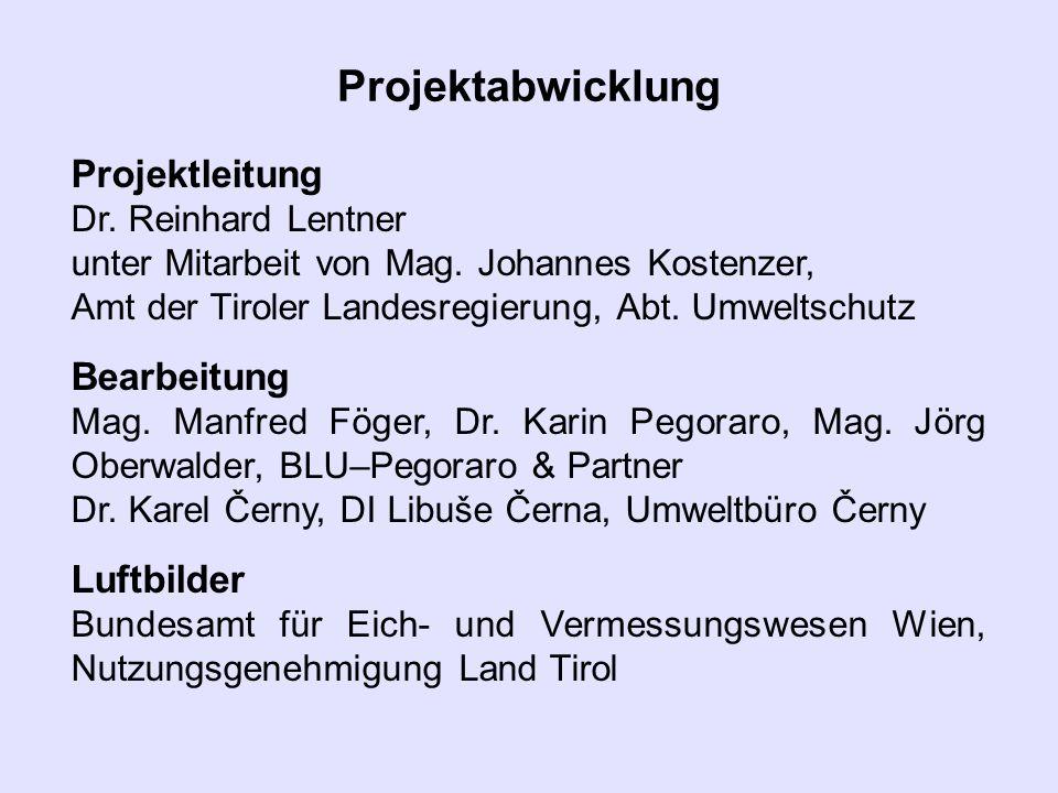 Projektabwicklung Projektleitung Dr. Reinhard Lentner unter Mitarbeit von Mag. Johannes Kostenzer, Amt der Tiroler Landesregierung, Abt. Umweltschutz