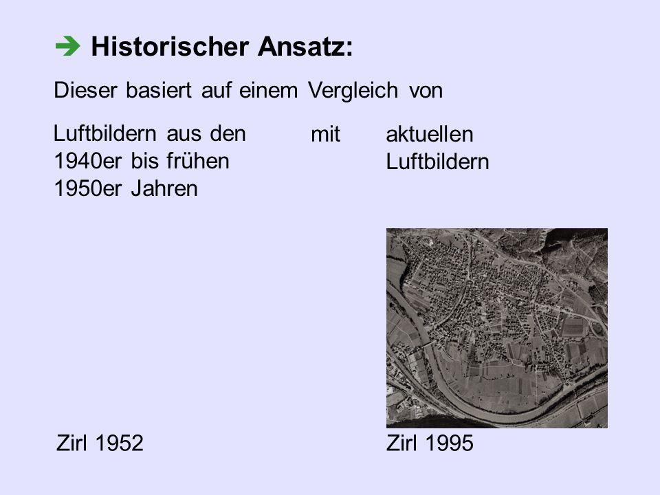 aktuellen Luftbildern Historischer Ansatz: Dieser basiert auf einem Vergleich von Luftbildern aus den 1940er bis frühen 1950er Jahren mit Zirl 1952Zir