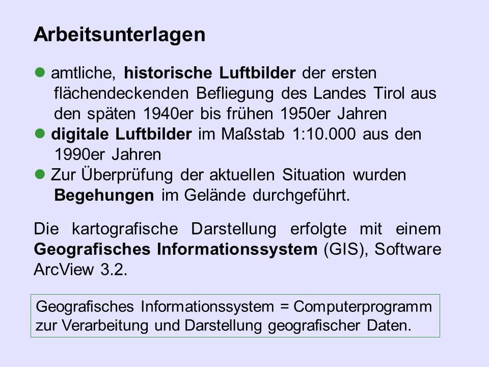 Arbeitsunterlagen amtliche, historische Luftbilder der ersten flächendeckenden Befliegung des Landes Tirol aus den späten 1940er bis frühen 1950er Jah