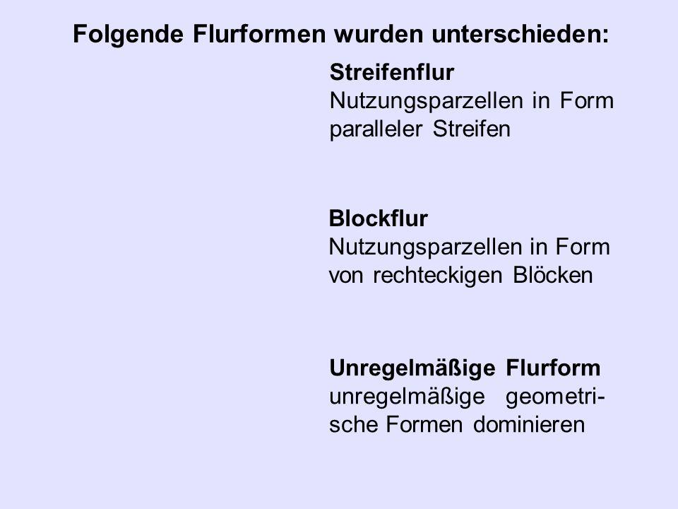 Streifenflur Nutzungsparzellen in Form paralleler Streifen Folgende Flurformen wurden unterschieden: Blockflur Nutzungsparzellen in Form von rechtecki
