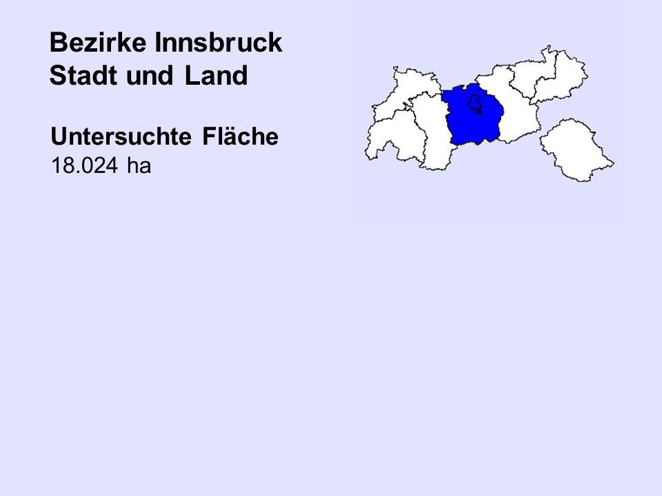 Bezirke Innsbruck Stadt und Land Untersuchte Fläche 18.024 ha
