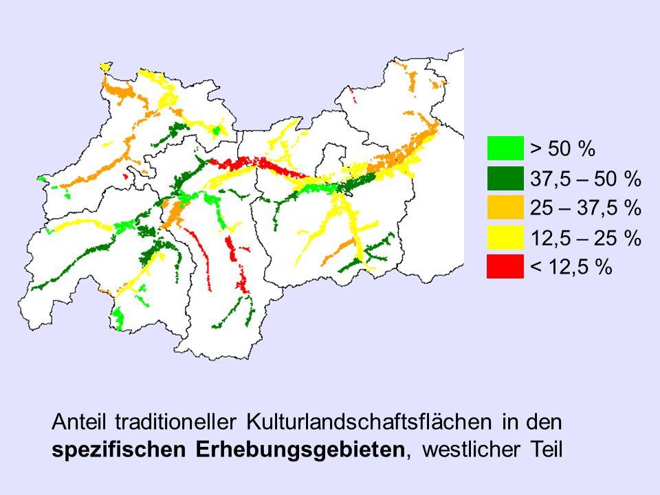 Anteil traditioneller Kulturlandschaftsflächen in den spezifischen Erhebungsgebieten, westlicher Teil > 50 % 37,5 – 50 % 25 – 37,5 % 12,5 – 25 % < 12,