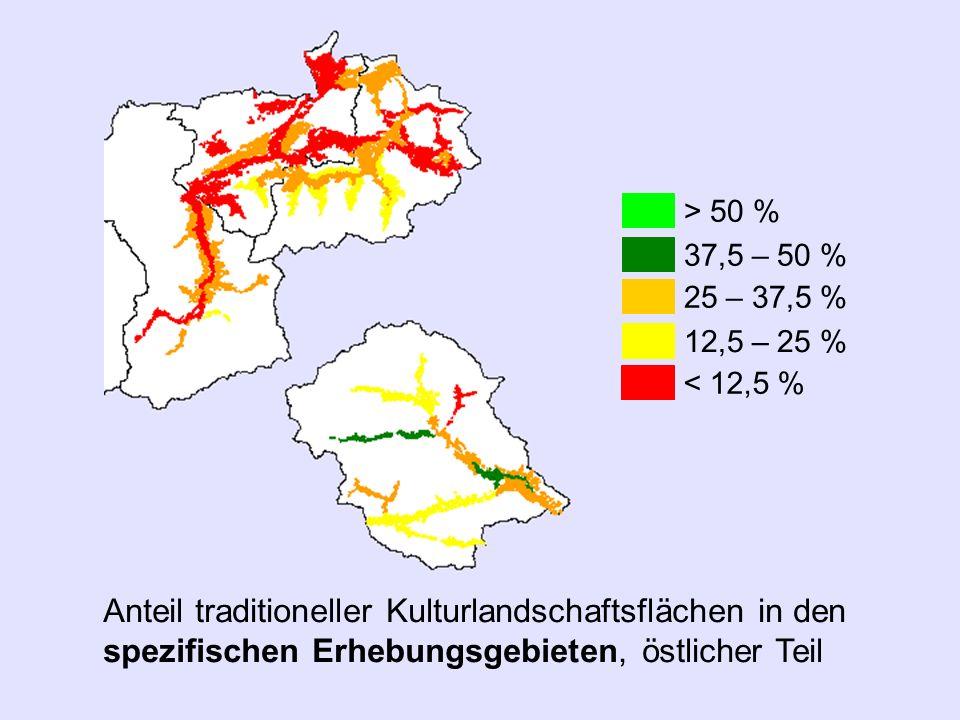 Anteil traditioneller Kulturlandschaftsflächen in den spezifischen Erhebungsgebieten, östlicher Teil > 50 % 37,5 – 50 % 25 – 37,5 % 12,5 – 25 % < 12,5