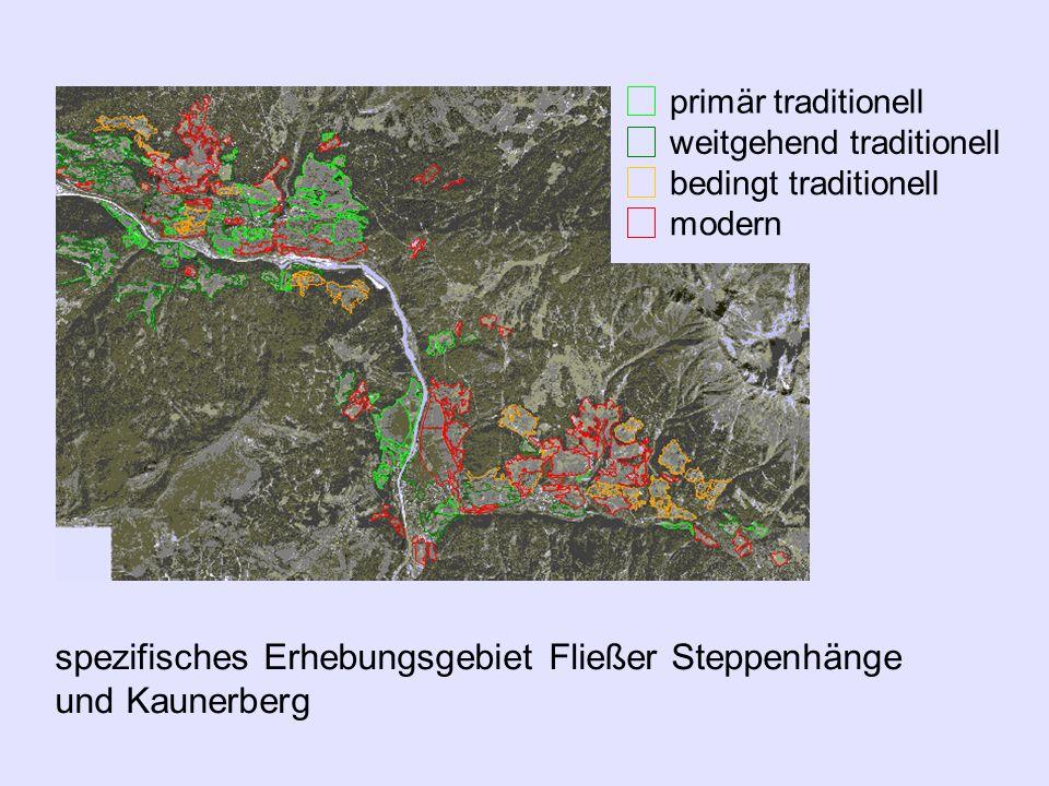 Luftbilder von 1990 und 1997 traditionelle Kultur- landschaftsflächen spezifisches Erhebungsgebiet Fließer Steppenhänge und Kaunerberg primär traditio