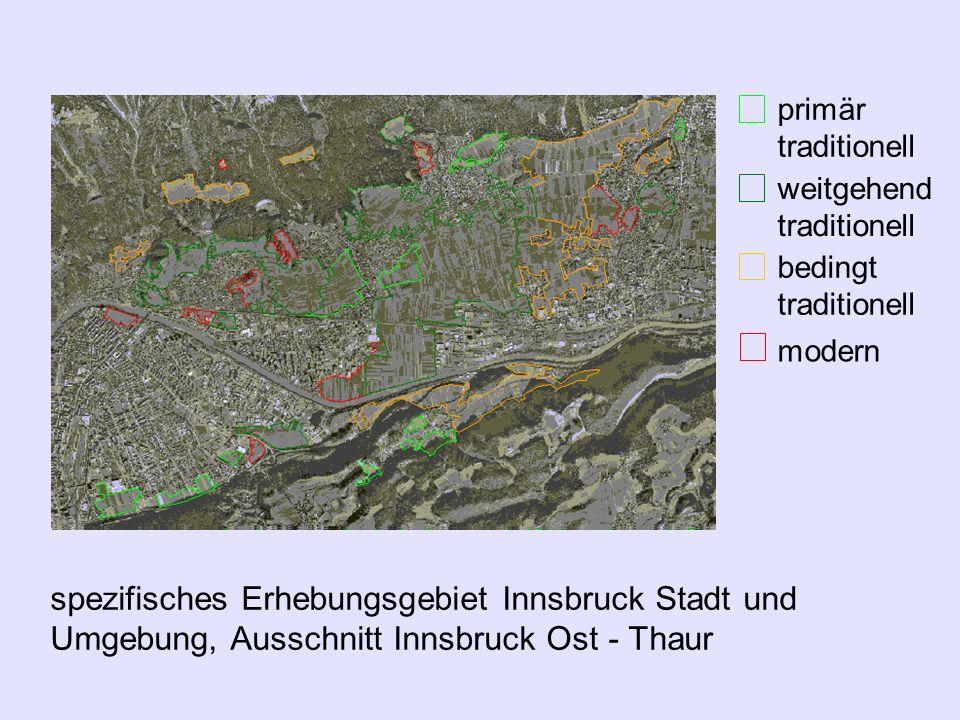 spezifisches Erhebungsgebiet Innsbruck Stadt und Umgebung, Ausschnitt Innsbruck Ost - Thaur Luftbilder von 1990, 1995 und 1996 traditionelle Kultur- l