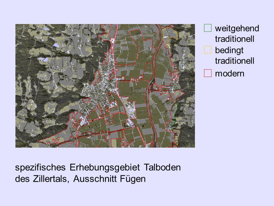 spezifisches Erhebungsgebiet Talboden des Zillertals, Ausschnitt Fügen Luftbilder von 1990, 1991 und 1997 traditionelle Kulturland- schaftsflächen wei