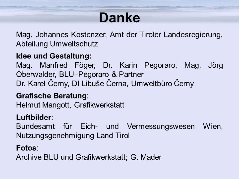 Danke Mag. Johannes Kostenzer, Amt der Tiroler Landesregierung, Abteilung Umweltschutz Idee und Gestaltung: Mag. Manfred Föger, Dr. Karin Pegoraro, Ma