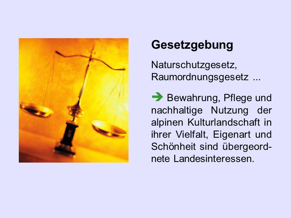 Gesetzgebung Naturschutzgesetz, Raumordnungsgesetz... Bewahrung, Pflege und nachhaltige Nutzung der alpinen Kulturlandschaft in ihrer Vielfalt, Eigena