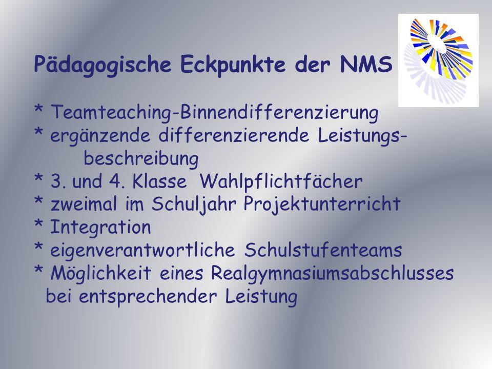 Pädagogische Eckpunkte der NMS * Teamteaching-Binnendifferenzierung * ergänzende differenzierende Leistungs- beschreibung * 3.