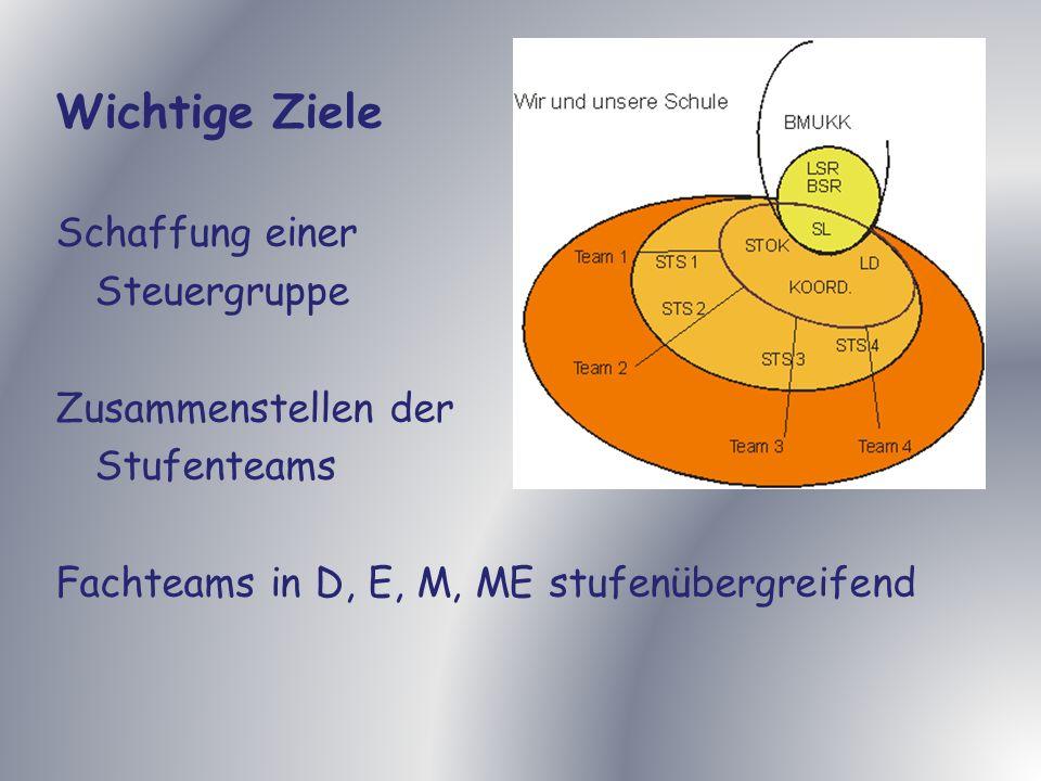 Wichtige Ziele Schaffung einer Steuergruppe Zusammenstellen der Stufenteams Fachteams in D, E, M, ME stufenübergreifend