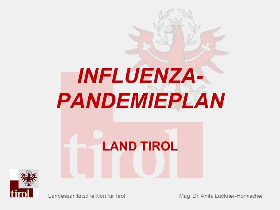 Landessanitätsdirektion für Tirol Mag. Dr. Anita Luckner-Hornischer INFLUENZA- PANDEMIEPLAN LAND TIROL