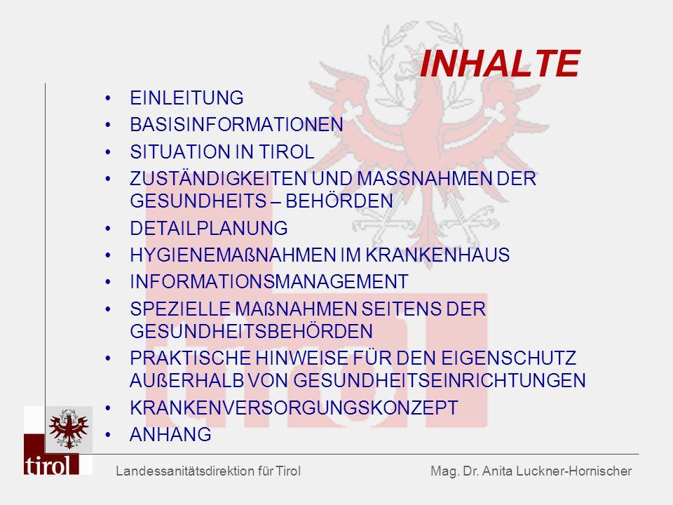 Landessanitätsdirektion für Tirol Mag. Dr. Anita Luckner-Hornischer INHALTE EINLEITUNG BASISINFORMATIONEN SITUATION IN TIROL ZUSTÄNDIGKEITEN UND MASSN