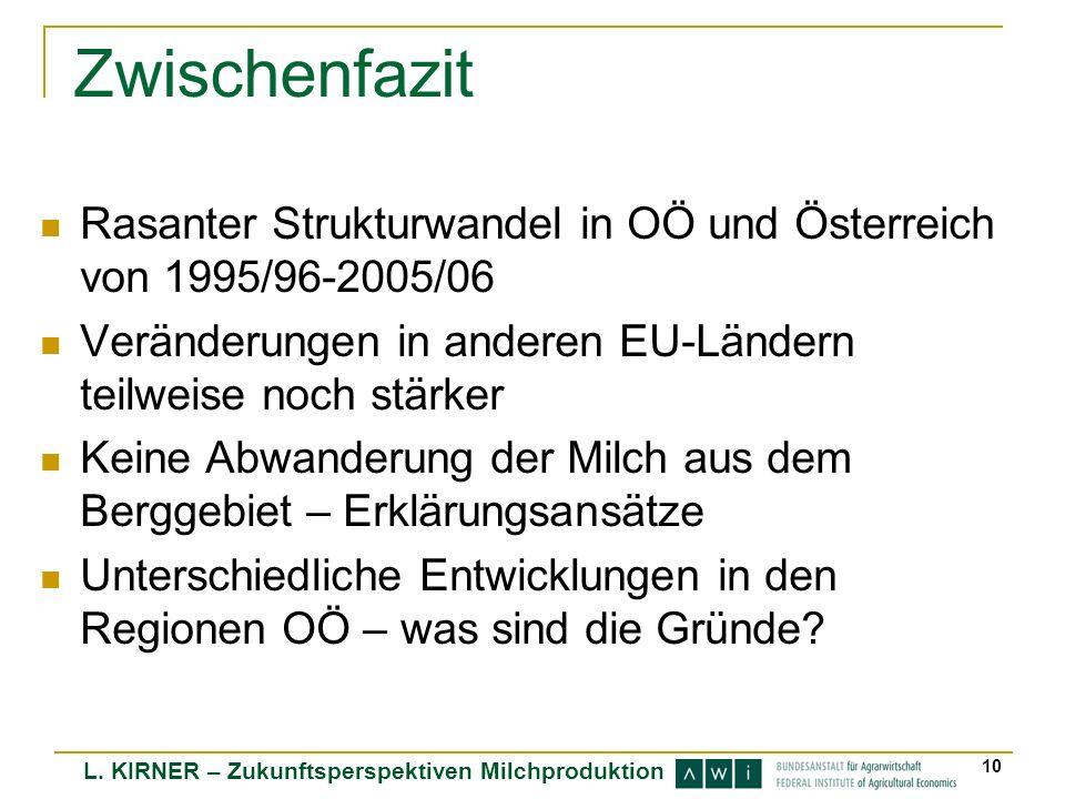 L. KIRNER – Zukunftsperspektiven Milchproduktion 10 Zwischenfazit Rasanter Strukturwandel in OÖ und Österreich von 1995/96-2005/06 Veränderungen in an