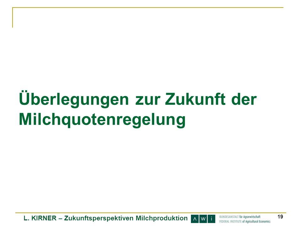 L. KIRNER – Zukunftsperspektiven Milchproduktion 19 Überlegungen zur Zukunft der Milchquotenregelung