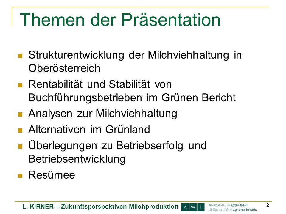 L. KIRNER – Zukunftsperspektiven Milchproduktion 2 Themen der Präsentation Strukturentwicklung der Milchviehhaltung in Oberösterreich Rentabilität und