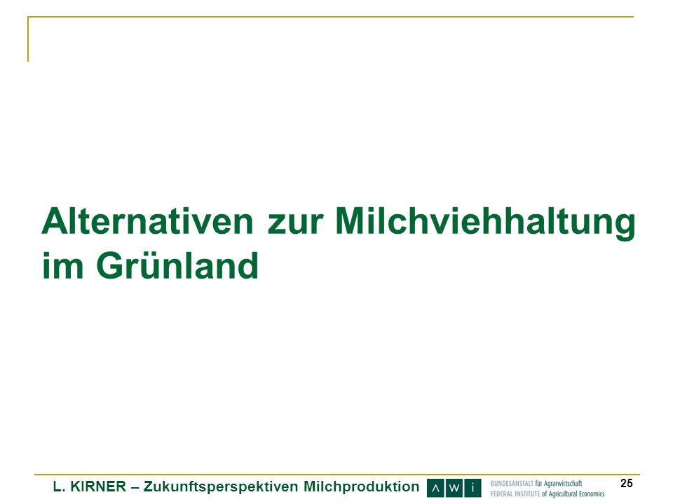 L. KIRNER – Zukunftsperspektiven Milchproduktion 25 Alternativen zur Milchviehhaltung im Grünland