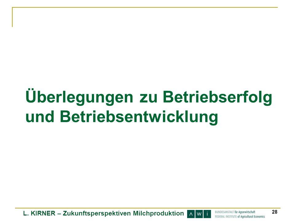 L. KIRNER – Zukunftsperspektiven Milchproduktion 28 Überlegungen zu Betriebserfolg und Betriebsentwicklung