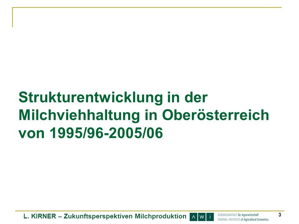 L. KIRNER – Zukunftsperspektiven Milchproduktion 3 Strukturentwicklung in der Milchviehhaltung in Oberösterreich von 1995/96-2005/06