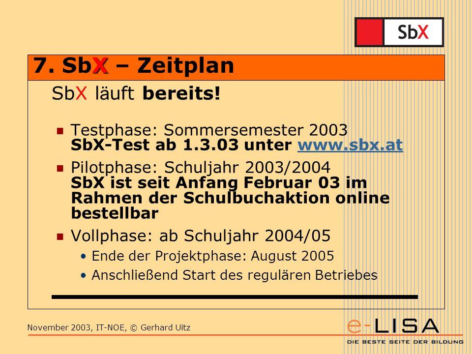 November 2003, IT-NOE, © Gerhard Uitz X 7. SbX – Zeitplan SbX l ä uft bereits.