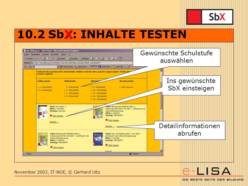 November 2003, IT-NOE, © Gerhard Uitz X 10.2 SbX: INHALTE TESTEN Gewünschte Schulstufe auswählen Ins gewünschte SbX einsteigen Detailinformationen abrufen