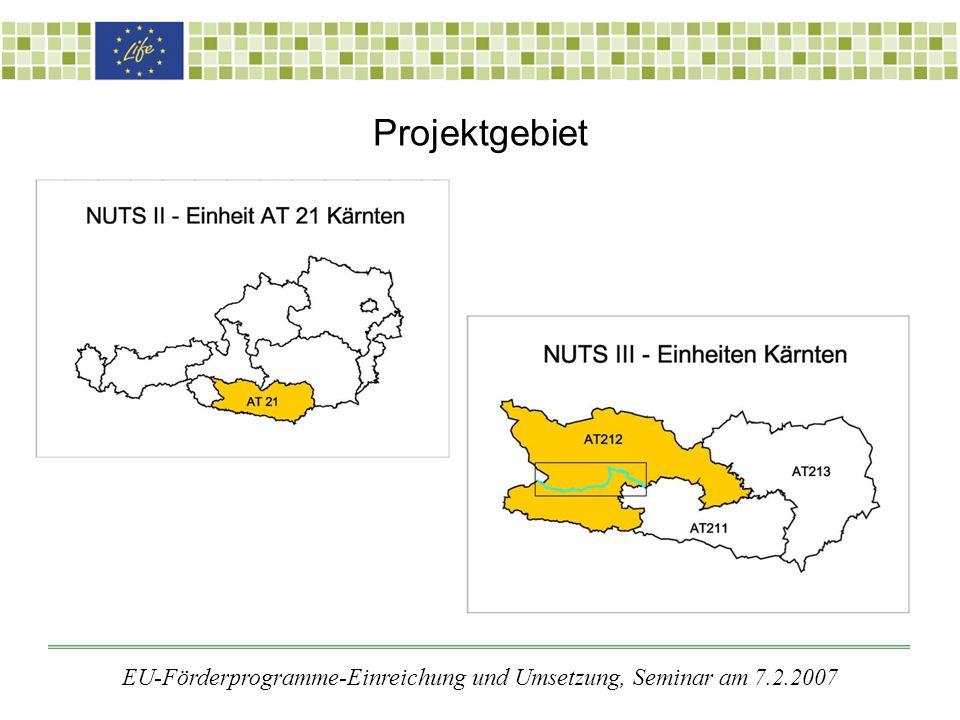 Projektgebiet EU-Förderprogramme-Einreichung und Umsetzung, Seminar am 7.2.2007